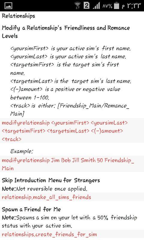 modify relationships cheat sims 4
