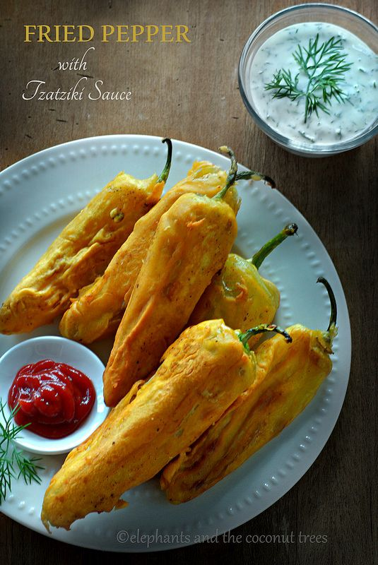 elephants and the coconut trees: Batter Fried Pepper with Tzatziki Sauce