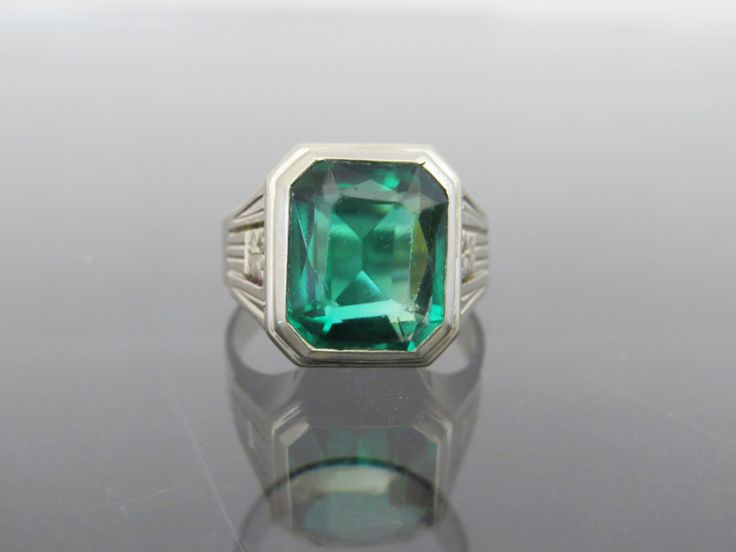 Vintage 1940s 10K Solid White Gold Green Spinel Mens Ring Size 10.25 by wandajewelry2013 on Etsy