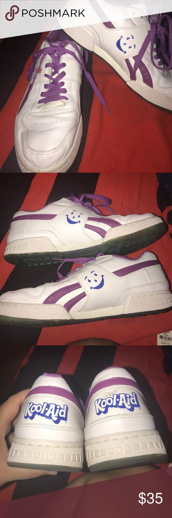 🍇RARE🍇 Grape Scented Kool-Aid Reeboks These are gentler used grape scented sneakers and they still smell like grape slightly! They are super comfortable! I wore them a total of seven times and got so many compliments! These are definitely a statement piece!! They are a men's 9.5 but a women's 11.5! Reebok Shoes Sneakers