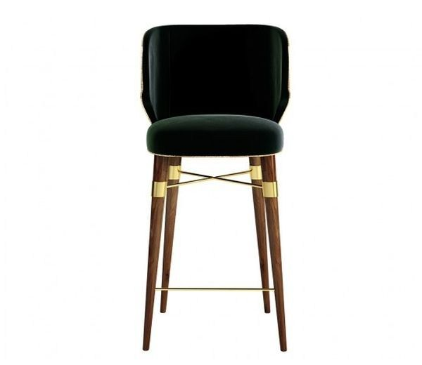 Classic style upholstered fabric chair with armrests LOUIS Bar Chair by Ottiu
