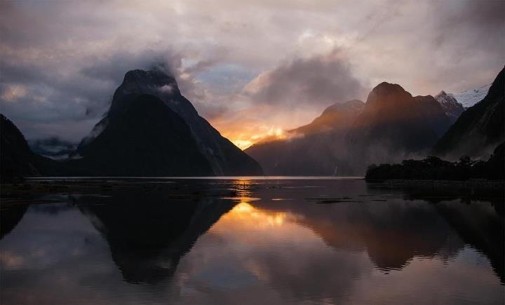 Sunset over Mitre Peak, Milford Sound.  www.wilderness.co.nz