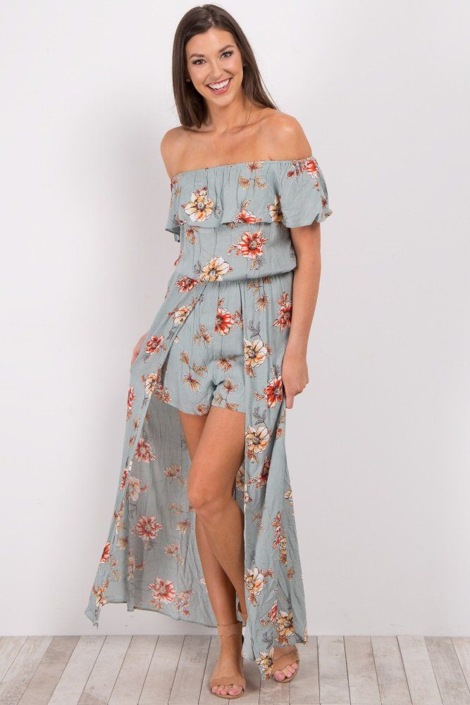 2f1954d7794f Floral print off shoulder romper with maxi skirt overlay. Ruffle trim  cinched neckline. Cinched waistline. Double lined to prevent sheerness.