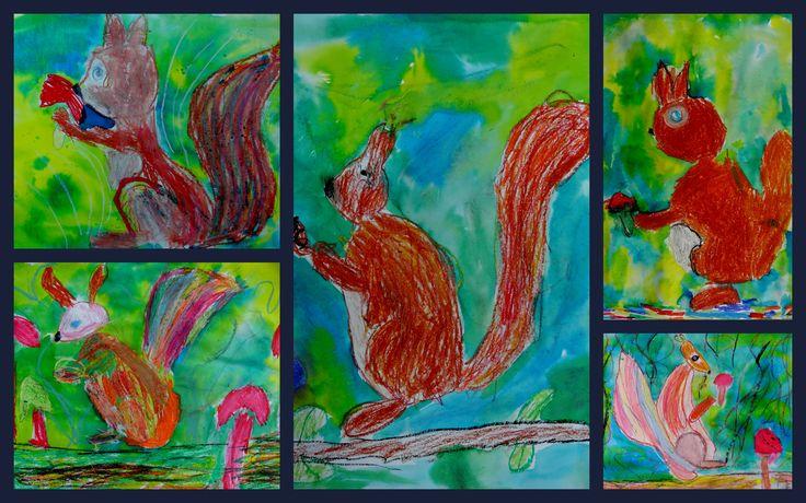 Groep 3 t/m 5 eekhoorn met oliepastel en ecoline