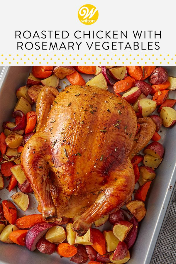 Oven Roasted Chicken With Rosemary Vegetables Recipe Recipe Rosemary Roasted Chicken Whole Chicken Recipes Oven Baked Whole Chicken Recipes