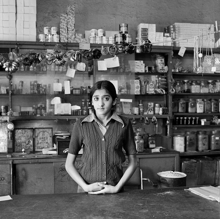 David Goldblatt The Modi's daughter in their shop before its destruction under the Group Areas Act, Fietas, January 1977