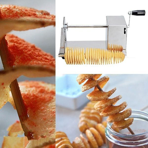 Manual Stainless Steel Potato Slicer Spiral French Fries Vegetable Chip Cutter