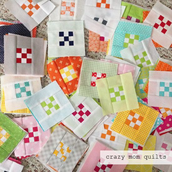 crazy mom quilts: mini nines  1.5 inch mini 9 patches
