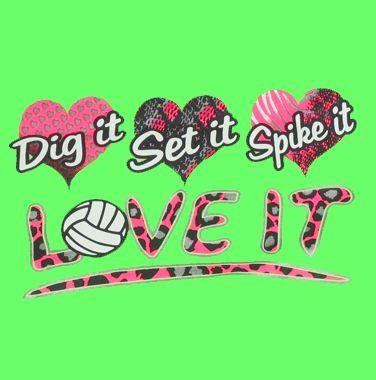 Dig Set Spike Love It Design Neon Green Volleyball T-Shirt