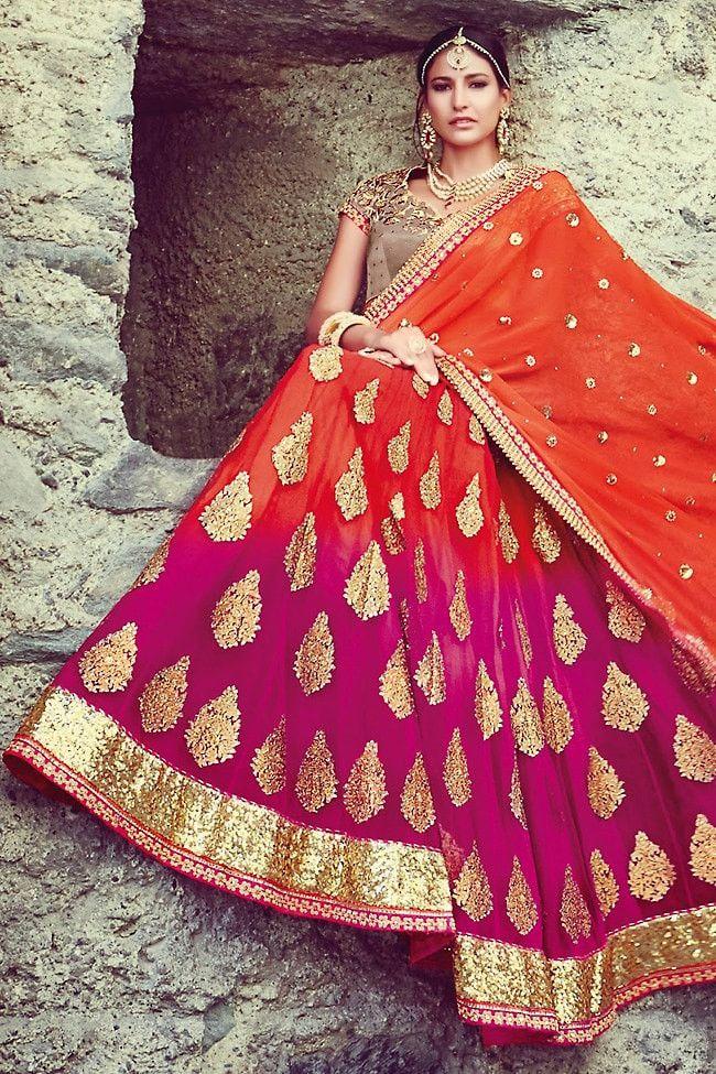Half saree. Love this colour combo