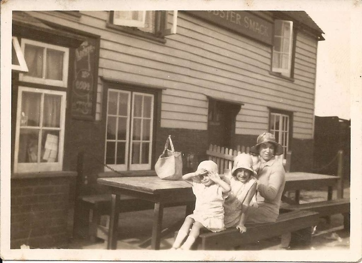 My mother Margaret, my aunty Audrey and my grandmother Ivy Messer outside the Lobster Smack Inn at Canvey Island 1930s.