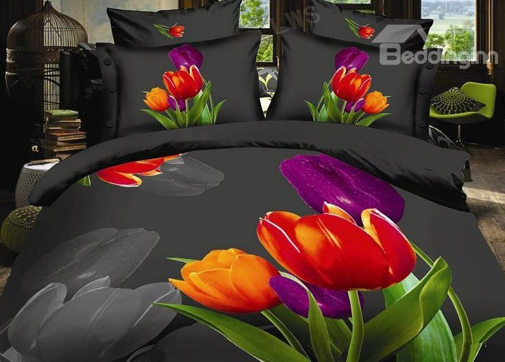 New Arrival High Quality 3D Beautiful Tulip 4 Piece Bedding Sets/comforter  Sets