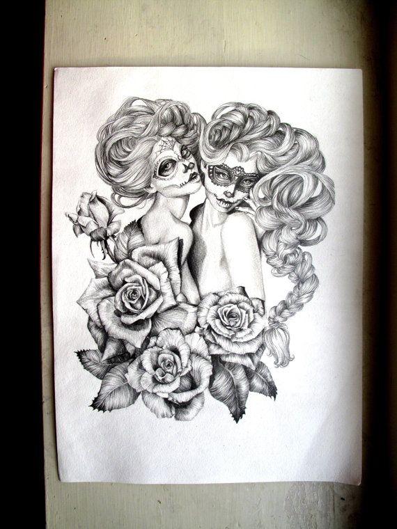 The Sugar Twins illustration Sugar Skull Twins by AlwaysApril, $25.00
