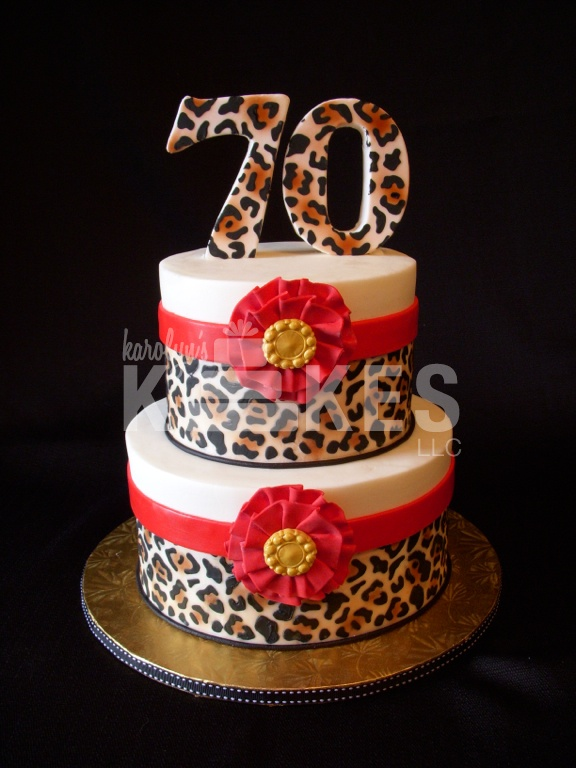 Leopard Print Birthday KAKE  Cakes iced in buttercream.  Royal icing and Marshmallow Fondant decorations