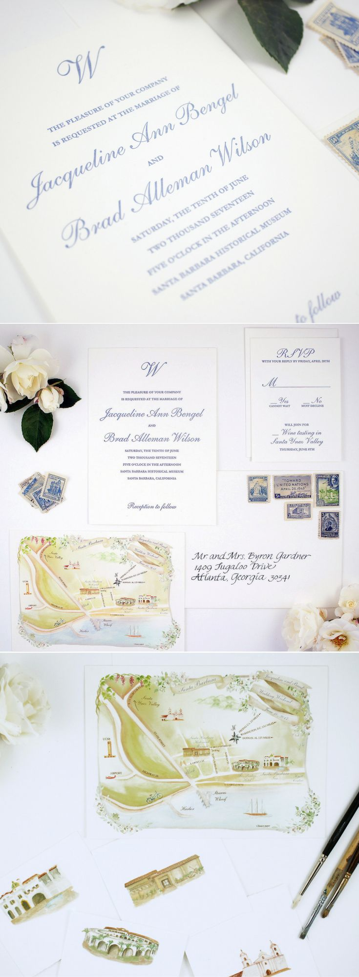 Beautiful wine country with custom map of Santa Barbara in the invitation suite. We love the contrast of the simple white and blue letterpress invitation with the colorful and complex map. The suite pieces enhance each other and together set the tone for a unique coastal, destination wedding weekend.