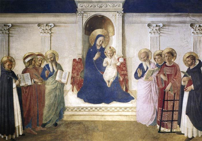Fra Angelico, Sacra Conversazione, c. 1443, fresco, 195 x 273 cm, Convento di San Marco, Florence The Sacra Conversazione fresco on the wall of the east corridor of the convent is also called Madonna of the Shadows (Madonna delle Ombre). Painted in the corridor off which the brethren's cells open (between cells 25 and 26), this fresco was one of Fra Angelico's last works in San Marco's Dominican Monastery. There is almost a metaphysical feel to the frozen gestures, the deep gazes, and the…