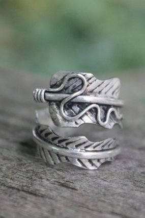 Ethnic Miao Silver Feather Ring Boho Ring Gypsy Feather Jewellery Bohemian Jewellery