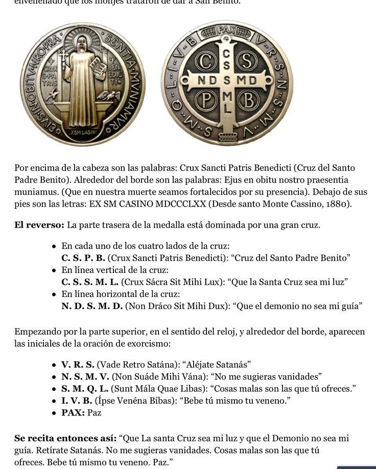 La muy milagrosa medalla de San Benito y la interpretación en sus dos caras.