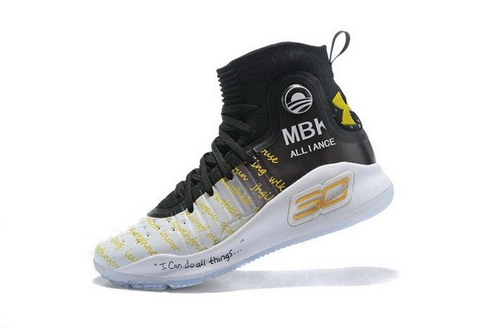 1f4515cd9b86 Under Armour Curry 4 MBK Alliance Black White Gold Mens Basketball Shoes