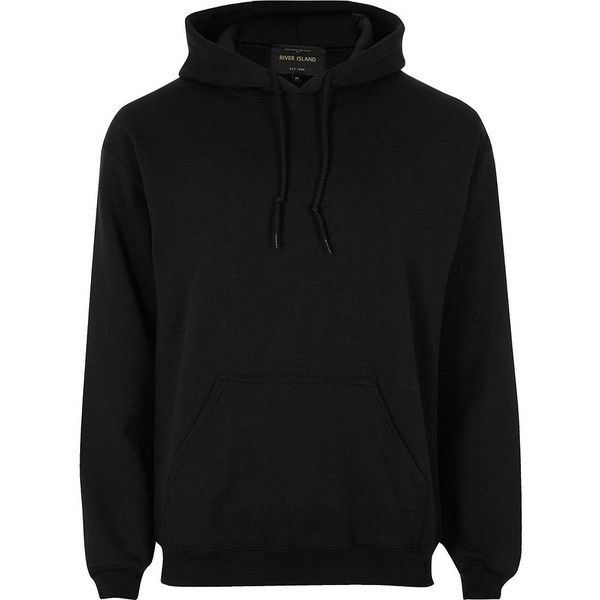 River Island Black casual hoodie ($31) ❤ liked on Polyvore featuring men's fashion, men's clothing, men's hoodies, black, hoodies, mens sweatshirts and hoodies, mens hoodies and mens tall hoodies