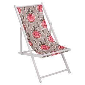 Wooden indoor/outdoor lounge chair with removable medallion-print sling.   Product: Indoor/outdoor lounge chairConstruction Material: Wood frame and outdoor polyester fabricColor: Gray and redFeatures:  Made in the USAWeather resistant Dimensions: 37 H x 21 W x 40 DCleaning and Care: Removable washable cover
