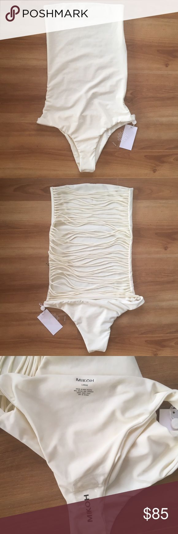 NWT cream one piece MIKOH Santorini suit (large) Brand new with tags, sanitary liner still stuck on, cool back. Santorini style. Mikoh Swim One Pieces