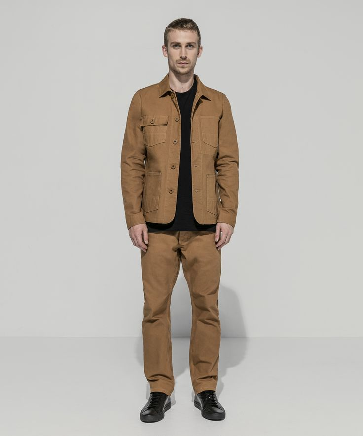 Heavyweight Oxford Canvas Garment Dyed Patch Pocket Chore Jacket (Tobacco) Superfine Combed Cotton Standard T (Black) Heavyweight Oxford Canvas Garment Dyed Five Pocket Workman Pant (Tobacco)