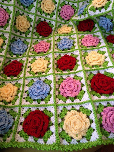 Crochet rose granny square Afghan