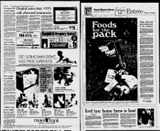 Eugene Register-Guard - 1982; pg 16; Baked Striped Bass; Parsleyed Rice; Summer Fruit Tart; Sweet French Tart Pastry Crust; Nectarines Royale; Italian Orange Cheese Spread; Potted sherr cheese; Marinated fruit bowl;