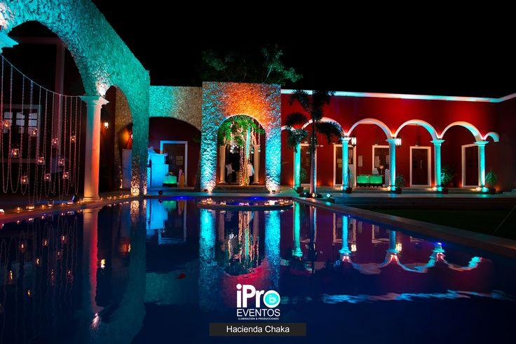 Diseño de iluminación arquitectónica y decoración de espacios para la hacienda Chaka #Boda #Wedding #Decoración