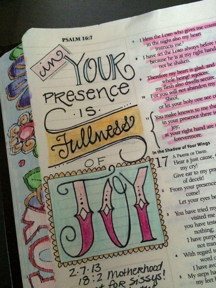 Your presence is fullness of joy; journaling Bible art
