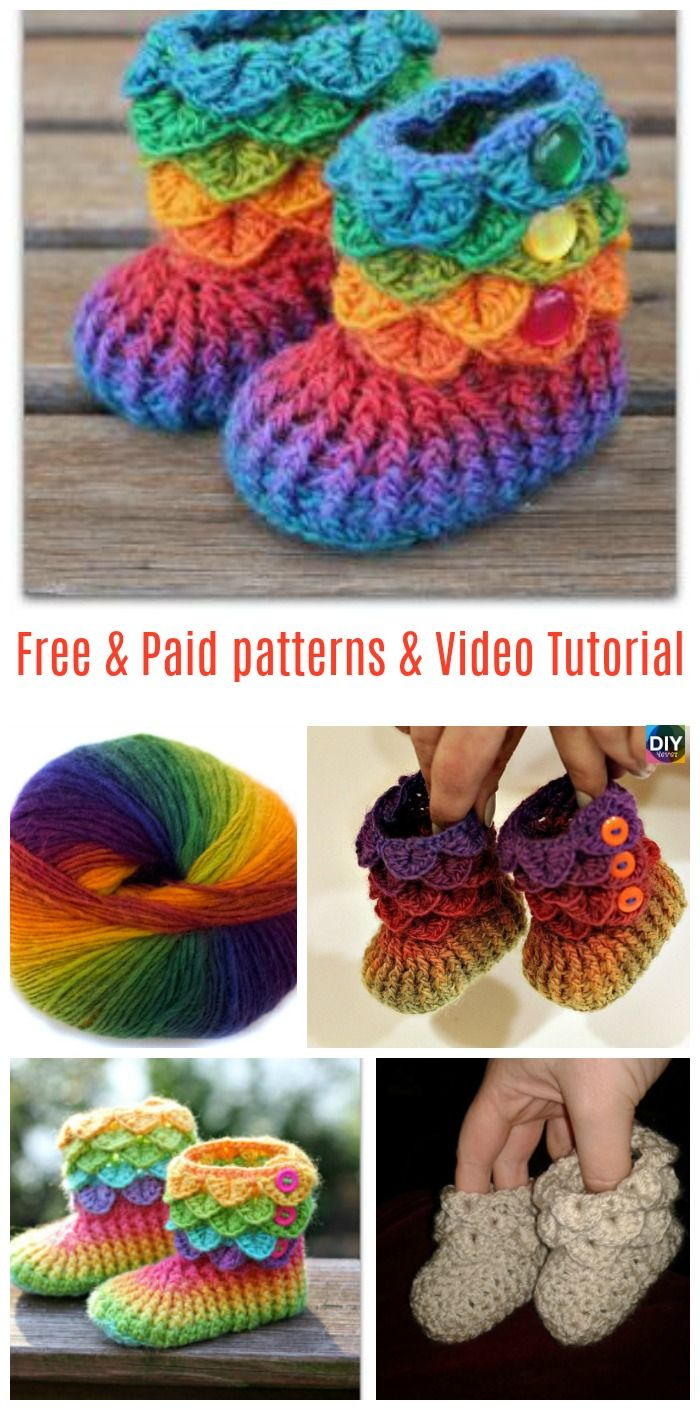 DIY4ever- Crochet Crocodile Stitch Booties Free & paid Patterns & Video tutorial