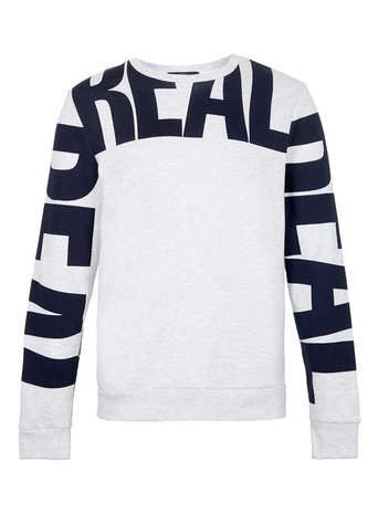 Light Grey Marl Real Printed sweatshirt - Men's Sweatshirts  - Clothing