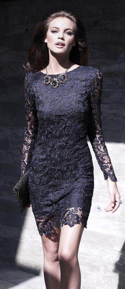 Carla Ruiz 2016 blue lace dress. women fashion outfit clothing stylish apparel @roressclothes closet ideas