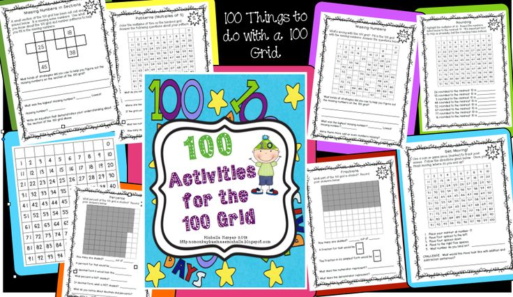 100 things to do with the 100 grid! Great math fun with a variety of skills and practice.  (patterns, rounding, problem solving, missing addends, multiplication, fractions, and more!) $