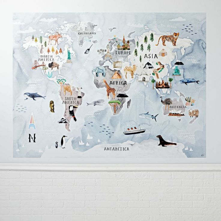 Shop Watercolor World Map Mural Decal.  This giant world map mural decal features animals and icons from every corner of the earth, so kids can explore wildlife and learn geography.