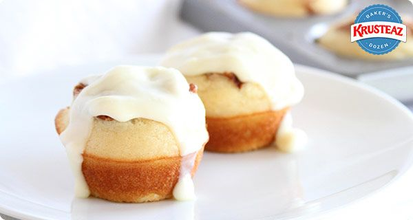 Cinnamon Roll Fluffy Pancake Cups. So simple and so delicious! #Krusteaz
