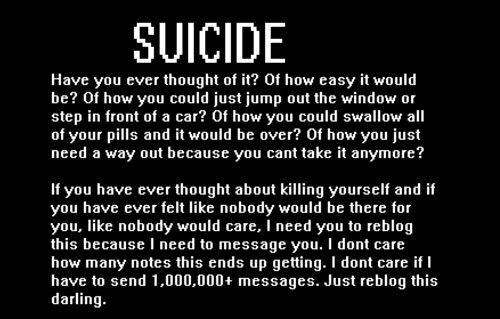 Suicide or you can comment on it if you already reblogs this