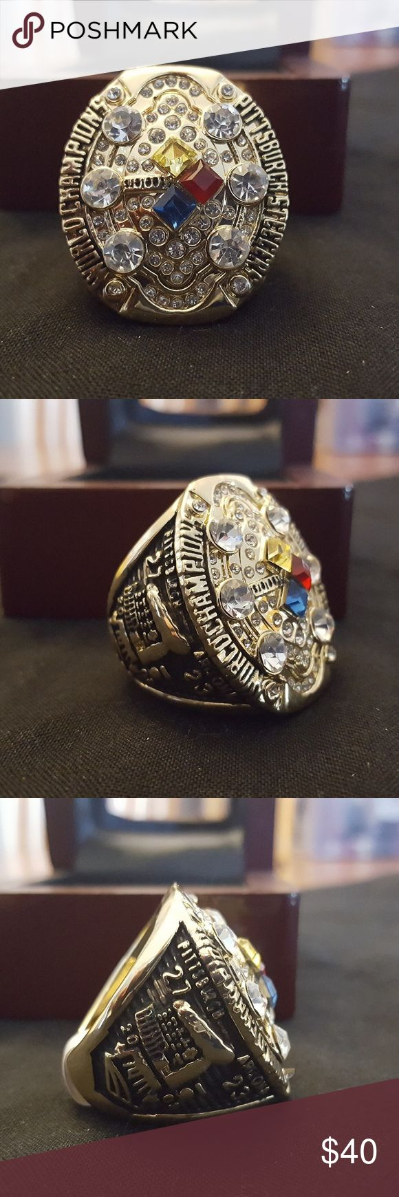 Pittsburgh Steelers 2008 Fan Edition Champ Ring 🏆🏈🏆 New never worn. Sizes 10. Show the world your team pride and with this fan edition Super Bowl Championship Ring . This gorgeous ring is 18k gold plated or silver and inlayed with exquisite cubic zirconias. It will look great on your finger, at the game, while watching the game on tv, or around town. This is the closest thing to a real championship ring set that most of us will ever get to. A great gift for a Steelers' fan🏈🏆🏈…