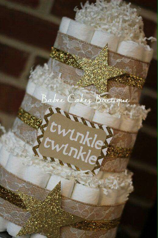 Baby diaper cake, gold and burlap, twinkle little star