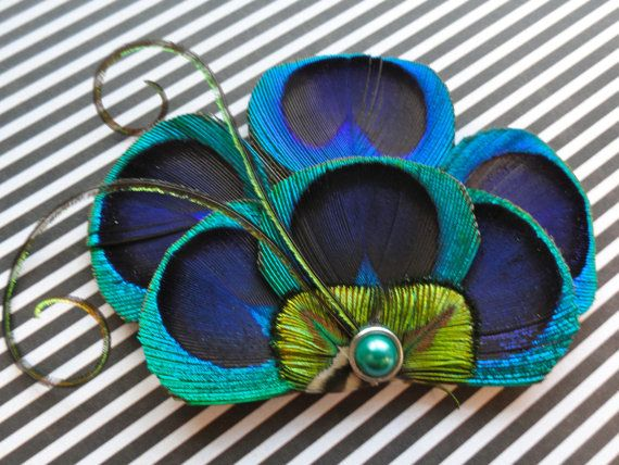 BRANDY Peacock Hair Fascinator Clip Headband Comb by Lucyohlucy, $16.50 - I want this for my baby shower!