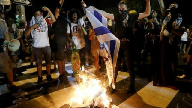 "Anti-Semitism and anti-Israel sentiment was on full display at the Democratic National Convention when protesters burned an Israeli flag.  Protesters set an Israeli flag on fire and chanted ""long live the intifada"" outside of the Democratic convention site on Tuesday."