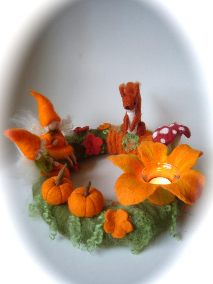 Autumn Table Wreath .Pixie,Needle Felted. Waldorf.Fall wreath,squirrel.. $118.00, via Etsy.
