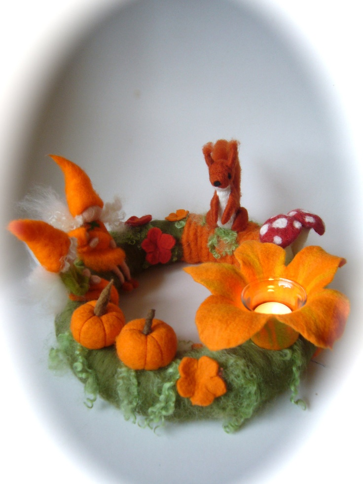 Autumn Table Wreath .Pixie,Needle Felted. Waldorf.Fall wreath,squirrel.. $118.00, via Etsy.