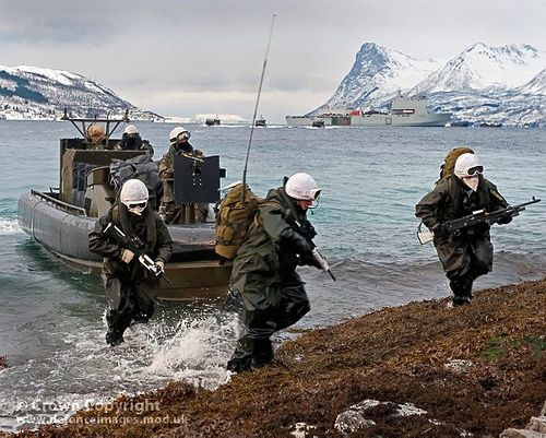 Members of Zulu Company, 45 Commando Royal Marines during an amphibious landing from various landing craft, as part of their Winter Deployment to Norway.