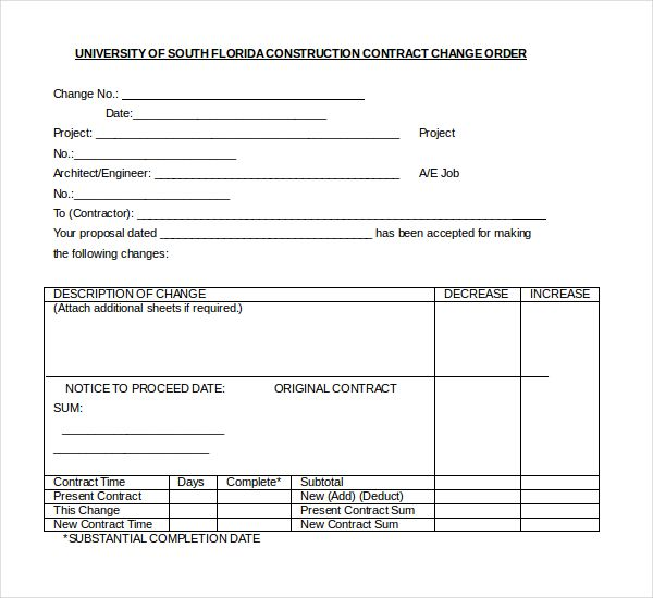 10+ Sample Construction Change Order Forms Sample Forms - change order template