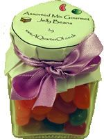 DINKY GLASS JAR - ASSORTED GOURMET JELLY BEANS - With personalised mop top and ribbon to match your colour scheme.