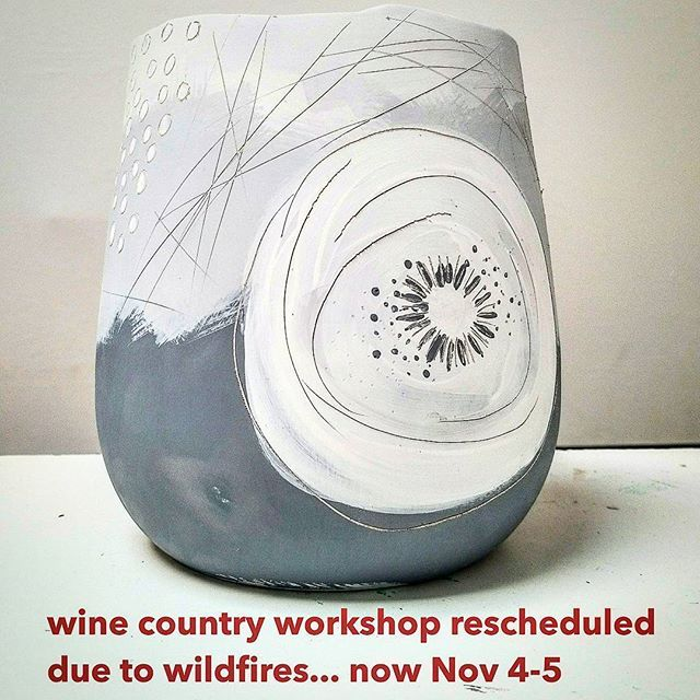My workshop on surface design has been cancelled this weekend due to the Sonoma and Napa County wild fires. It's just not an atmosphere for fun and creativity right now in the heart of such a big emergency. The workshop has been re scheduled for the 1st weekend in November and there may be a few spots available if people drop out. Contact @sonomaceramics for info on signing up! . . #ceramicworkshops #ceramics #pottery #ceramicsurface