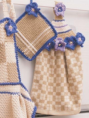 Towel Topper, apron & Pot Holder  Crochet Pattern Free