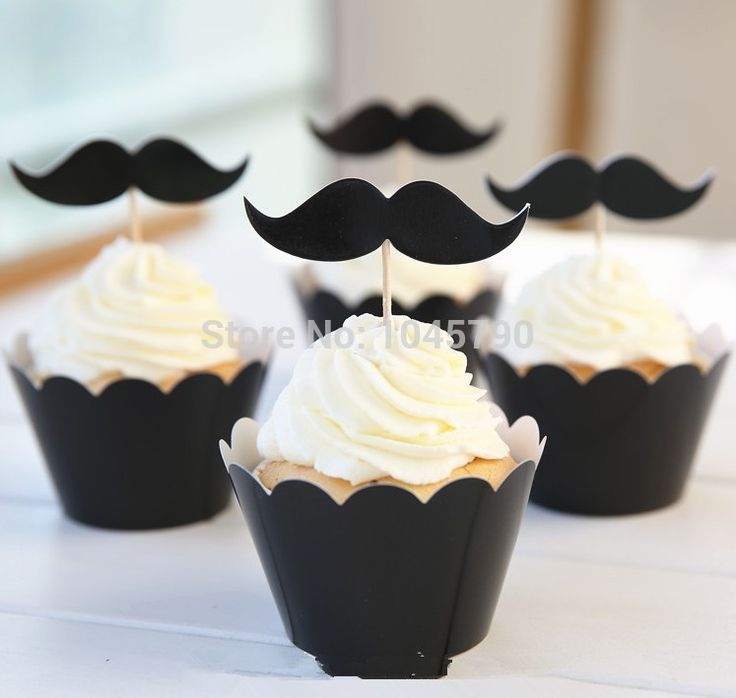 Free Shipping 24Pcs Moustache Cupcake Wrappers Decoration Wedding Birthday Party Favors With Cupcake Topper Pick Supplies